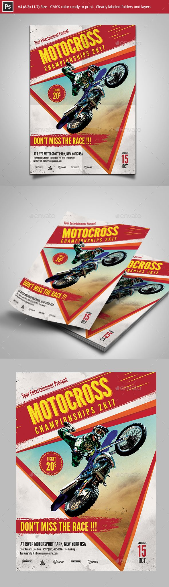 Motocross Championships Flyer Template by Yudha_SBS Flyer template design for Motocross championships Features :1 PSD file (min version cs2)Size : A4 Size (8.27'x11.69') with 0.25'b