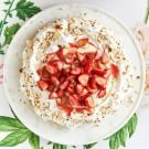 Try the Almond Pavlova with Strawberry-Rhubarb Compote Recipe on williams-sonoma.com/