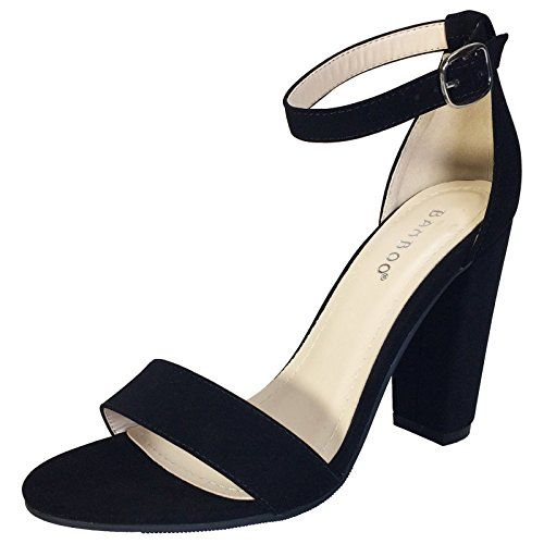 BAMBOO Womens Single Band Chunky Heel Sandal With Ankle Strap Black Nubuck  PU 55 D M US ** You can find more details by visiting the image link.