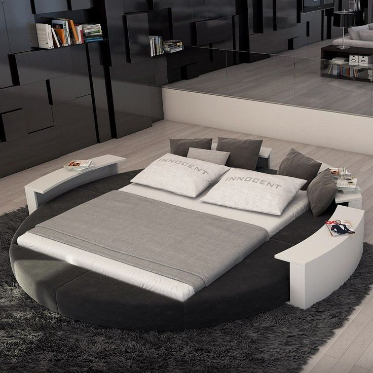 Build Up Cushions Around Bed To Give Round Bed Effect Round Beds Bed Design Modern Bedroom