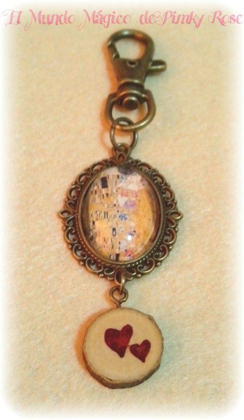 Colgador de bolso o llavero el beso de Klimt