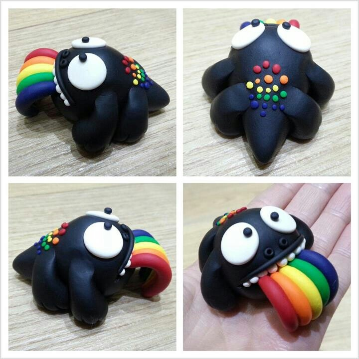 Monstruo come arcoiris kawaii en arcilla polimérica / Polymer Clay