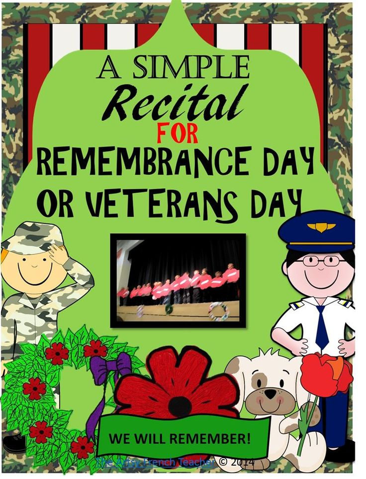 This simple recital for Remembrance Day or Veterans Day (both spellings) is visually engaging. It can fortunately be prepared quickly with a verb list already prepared, a letter home requesting help, and step-by step instructions. This recital is for primary students! TPT$