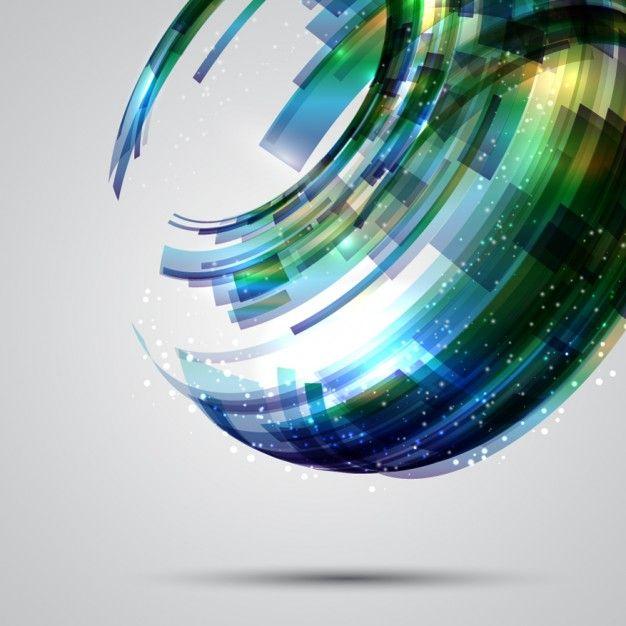 緑、青の色調で抽象的なサークルの背景 無料ベクター