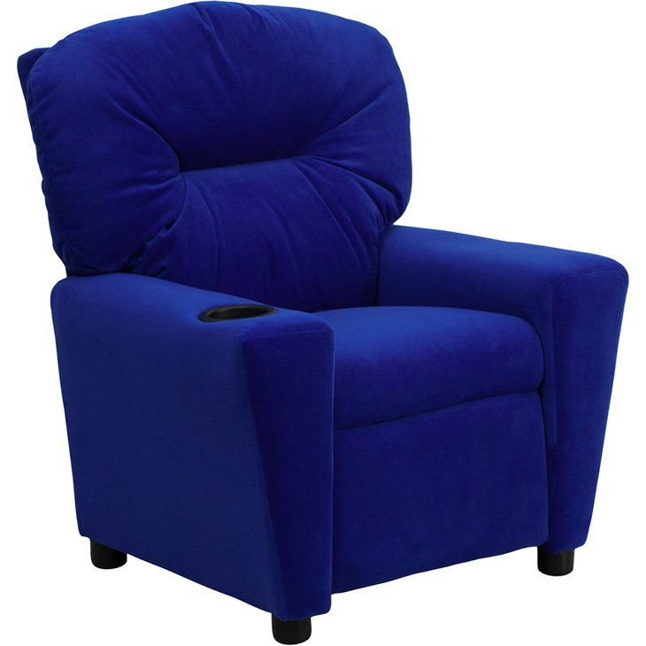 Best Blue Microfiber Kids Recliner With Cup Holder In 2019 400 x 300