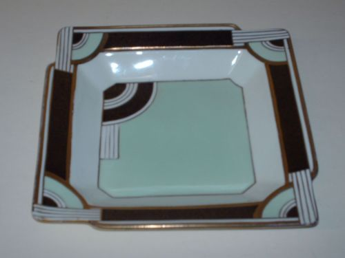 Stylish, geometric hand enamelled Art Deco dish by Tuscan China - Plant design | eBay