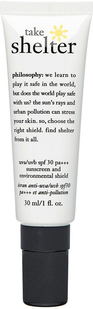 Aurinkosuoja citykäyttöön! PHILOSOPHY take shelter -suojavoide 30 ml. Ehkäisee ihon valoikääntymistä. Käytä päivittäin kosteusvoiteen päällä. SK 30. 32,50 €.