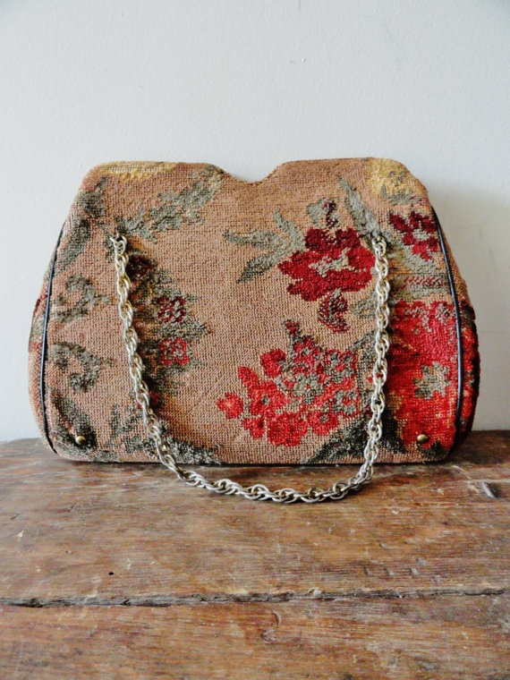 vintage tapestry bag by OakTreeBakery on Etsy, $16.00