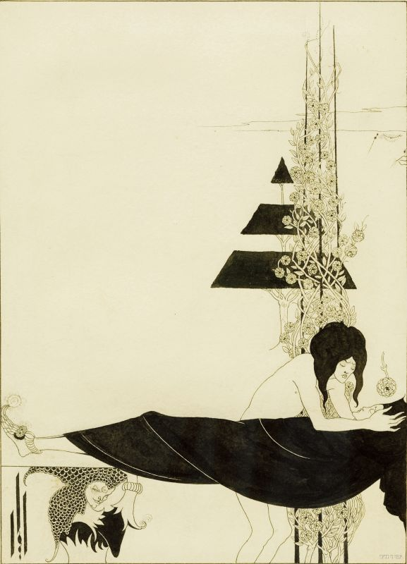 Beardsley, Aubrey (1872-1898) and Wilde, Oscar (1854-1900), A Platonic Lament, Important original illustration for Salome: A Tragedy in One Act, published in 1894.