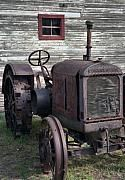 old tractor and barn