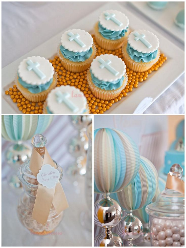 Pretty blue and gold boy's christening sweet table