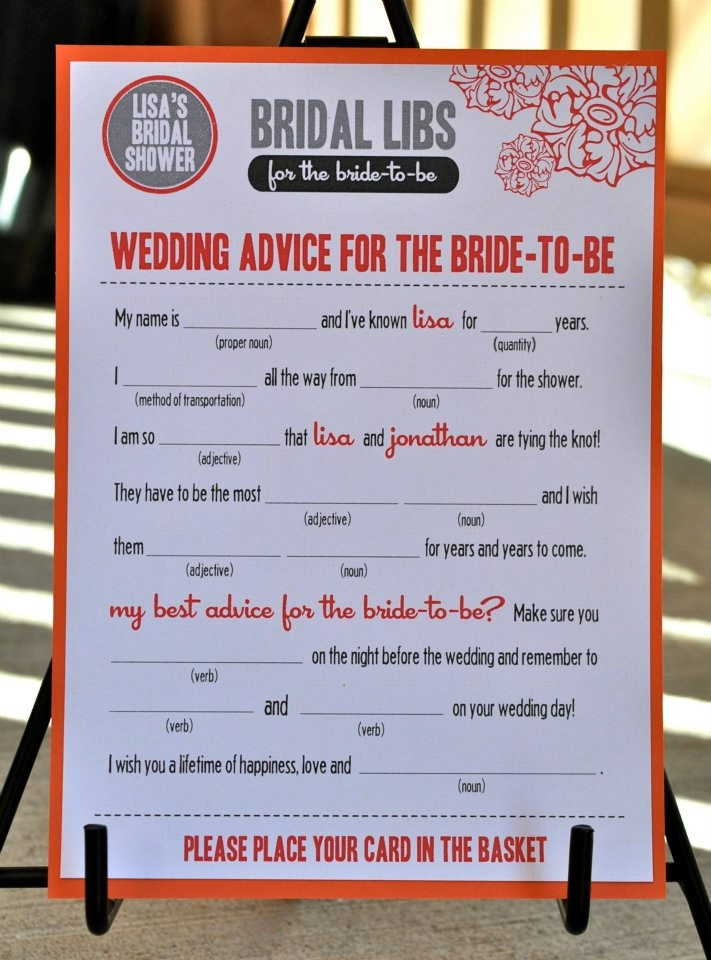 free printable bridal shower games how well do you know the bride%0A MAD LIBS  Bridal Shower edition  Good for the Borrowed advise