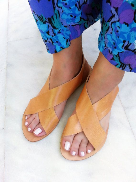 Slingback Classic Style Leather Sandals. Flat X by LeatherStrata