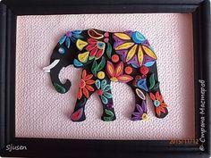 Картина панно рисунок Квиллинг Индийский слон Бумажные полосы Фоамиран фом