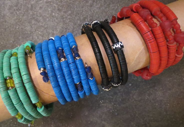 Multi-strand beaded bracelets, South Africa.
