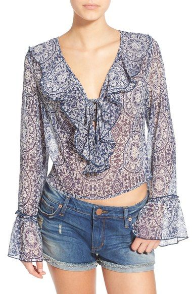 Band of Gypsies Ruffle Front Sheer Blouse available at #Nordstrom