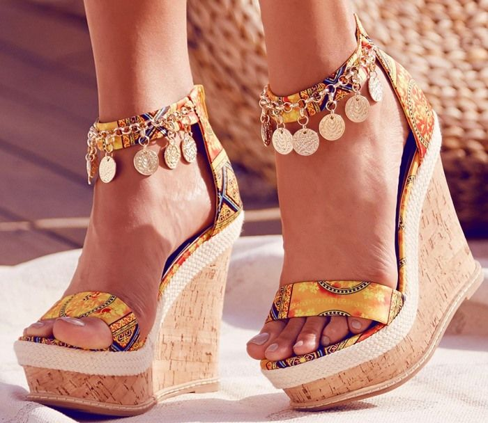 """Coin-Embellished Printed-Fabric """"Echo"""" Cork Wedges"""