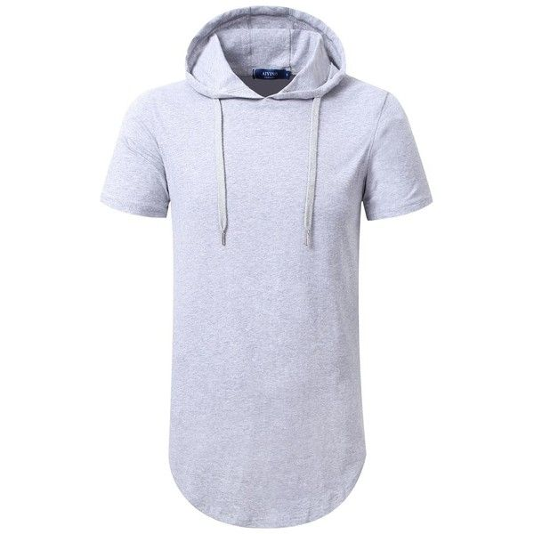 Aiyino Mens Hipster Hip Hop Short Sleeve Longline Pullover Hoodies... (41 BRL) ❤ liked on Polyvore featuring men's fashion, men's clothing, men's shirts, men's casual shirts, mens longline shirt, mens casual short sleeve shirts, mens casual short-sleeve button-down shirts and mens pullover shirts