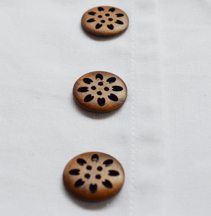 Set of 6, new round wooden buttons with 4 holes,  rustic brown with carved hollow details. 25mm  (1inch). by yourbuttonshop on Etsy