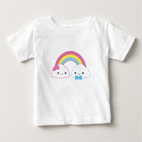 Kawaii Couple Clouds with Rainbow Baby T-Shirt #rainbow #kids #clothing