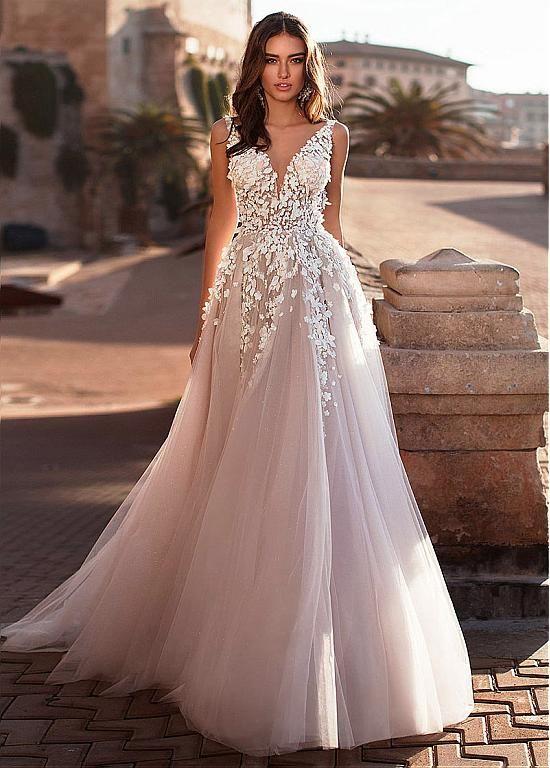Magbridal Fantastic Tulle V-neck Neckline A-line Wedding Dress With Lace Appliqu…