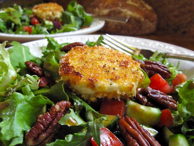 Mixed Green Salad with Warm Breaded Goat Cheese Rounds and Balsamic Vinaigrette #BHGSummer