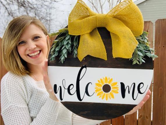 Door Decoration Welcome Sunflower Door Hanger Front Door Etsy Sunflower Door Hanger Door Signs Diy Door Decorations