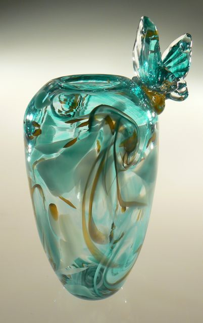 Hand Blown Glass Art Vase with swirling blue green and gold