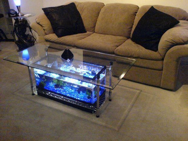 DIY Aquarium coffee table with 7 steps --> http://wonderfuldiy.com/wonderful-diy-amazing-fish-tank-coffee-table-with-7-steps/ #diy #fishtank