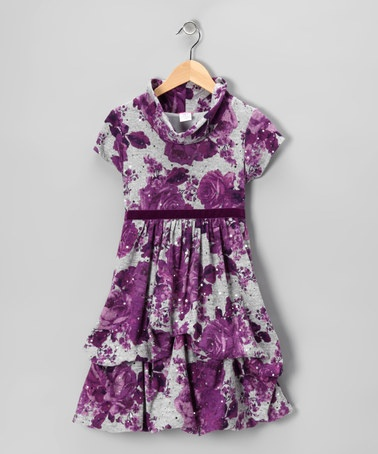 Take a look at this Purple & Gray Floral Pick-Up Dress - Toddler & Girls by Sweet Heart Rose on #zulily today!