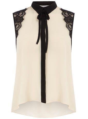 Petite blush lace shoulder top