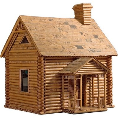 Newspaper Log Cabin Usa Circa 1932 Unusual House Made From