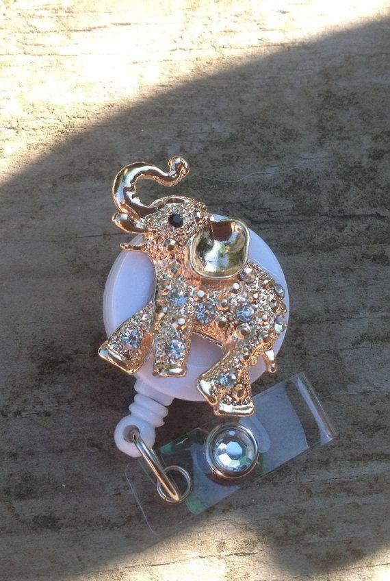Elephant bling badge reelRN badgeAnimal by AllThingsMish on Etsy