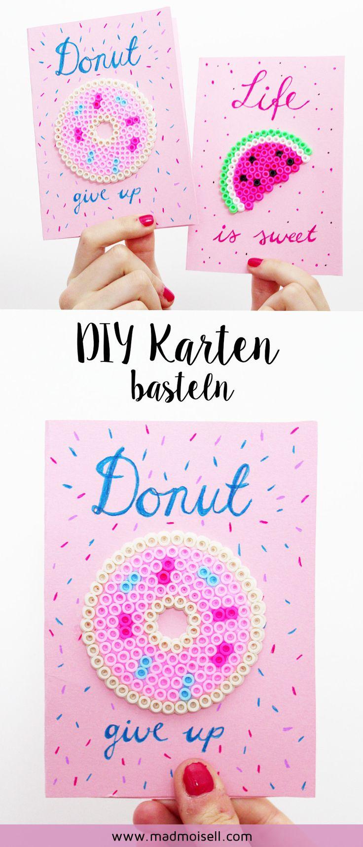 DIY Karten mit Bügelperlen & Handlettering verzieren! DIY Karten sind super schnell selbst gemacht und eignen sich toll zum Verschenken! Ich zeige dir eine DIY Karte verziert mit Bügelperlen und Handlettering!