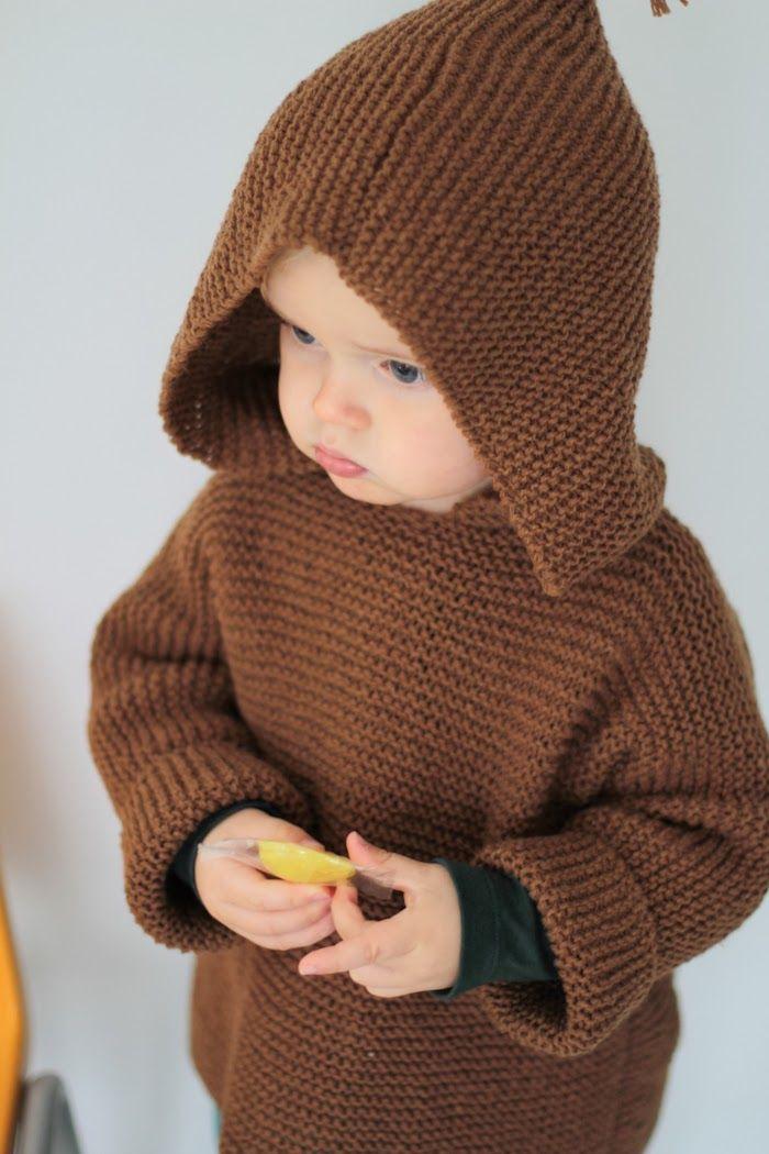 les tricots de Granny. burnou caramel, 3/4 ans, aiguilles 4.5
