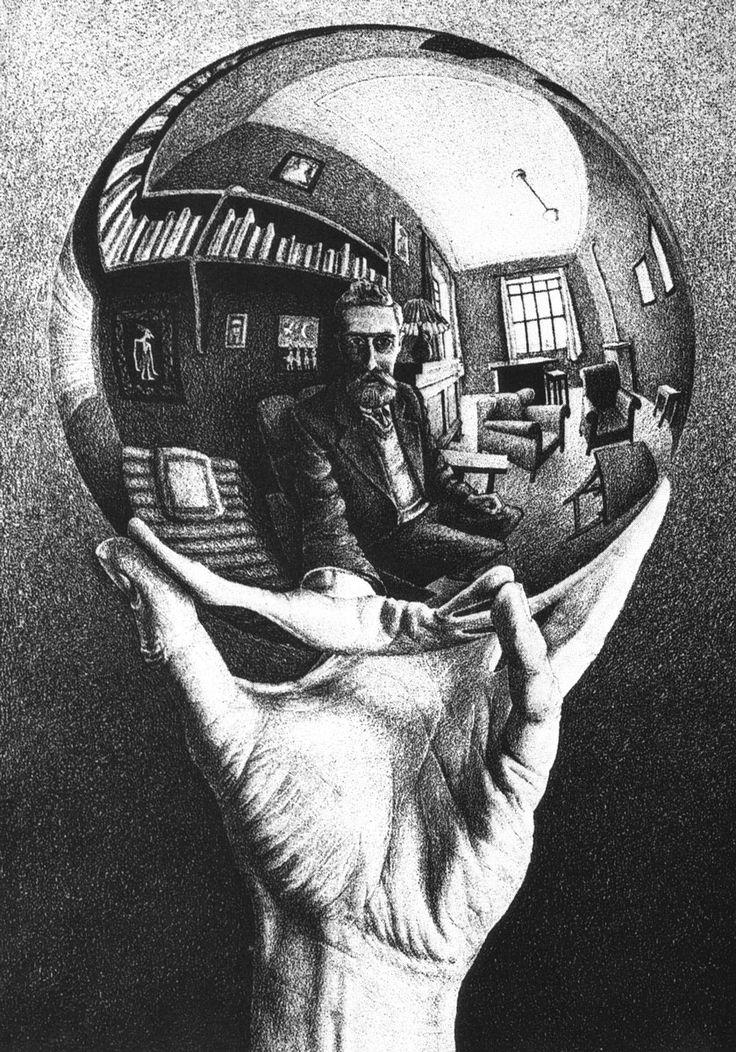 Autoportrait dans un miroir sphérique, lithographie de M. C. Esher (1935).