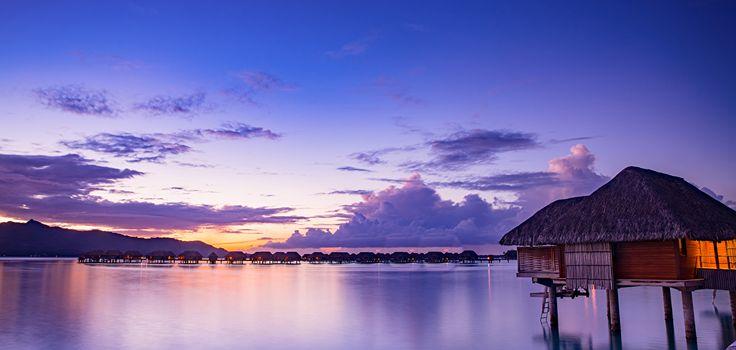 Французская Полинезия Тропики Море Вечер Небо Рассветы и закаты Бора-Бора Бунгало Природа
