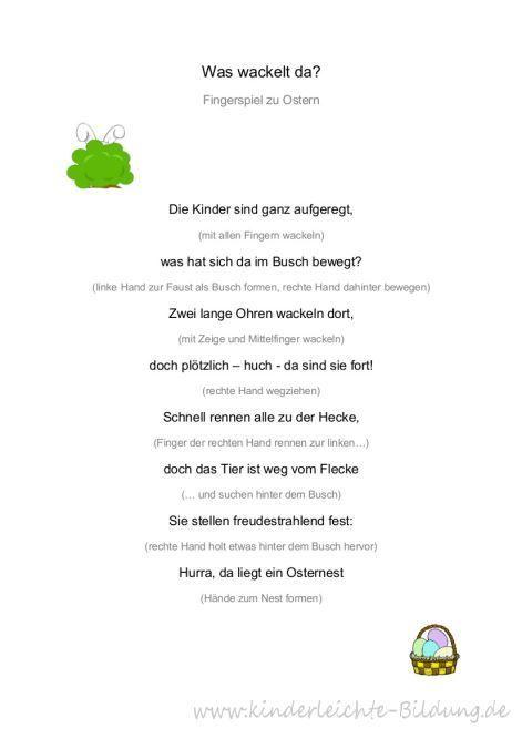 Frühe Bildung? Kinderleicht! : Was wackelt da? Ein Fingerspiel zu Ostern