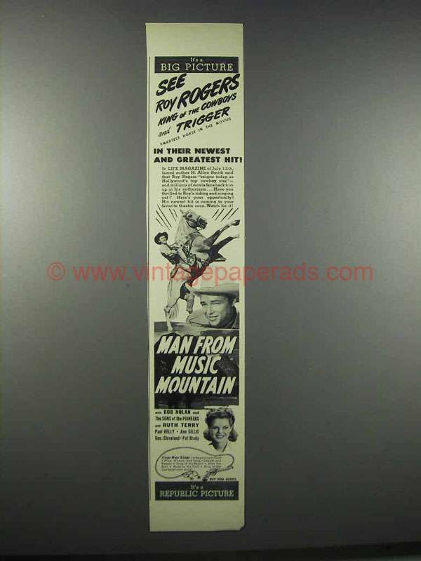 1943 Man from Music Mountain Movie Ad - Roy Rogers