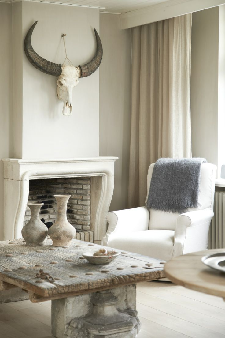 Neutral Living with Antique Fireplace