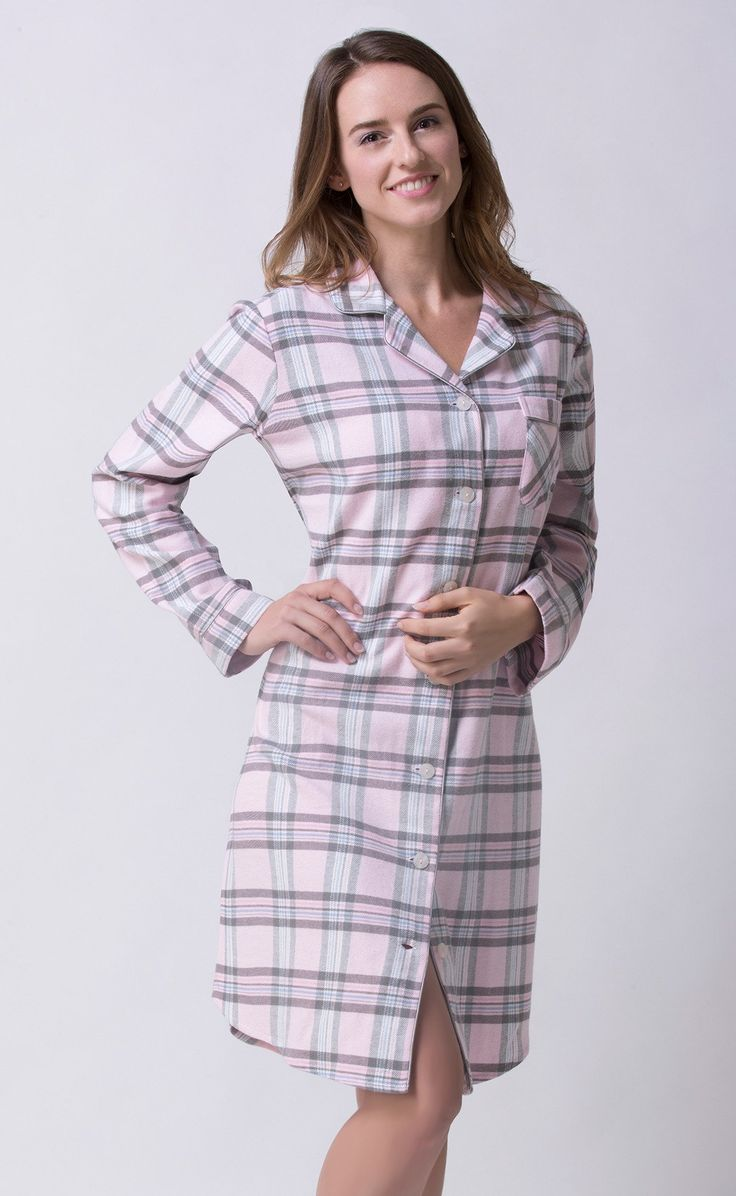 This is our favourite sleepshirt! Made in 100% cotton flannelette. You will look great and wake up happy in this super comfy sleepshirt! Available in Small  Med