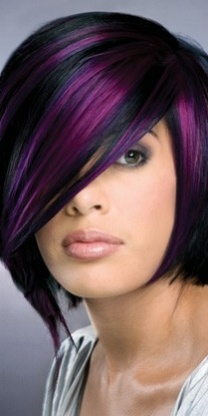 This black and purple combination is the color combo I would do in my own hair if I could. If the cut was a little longer, I would like it too!