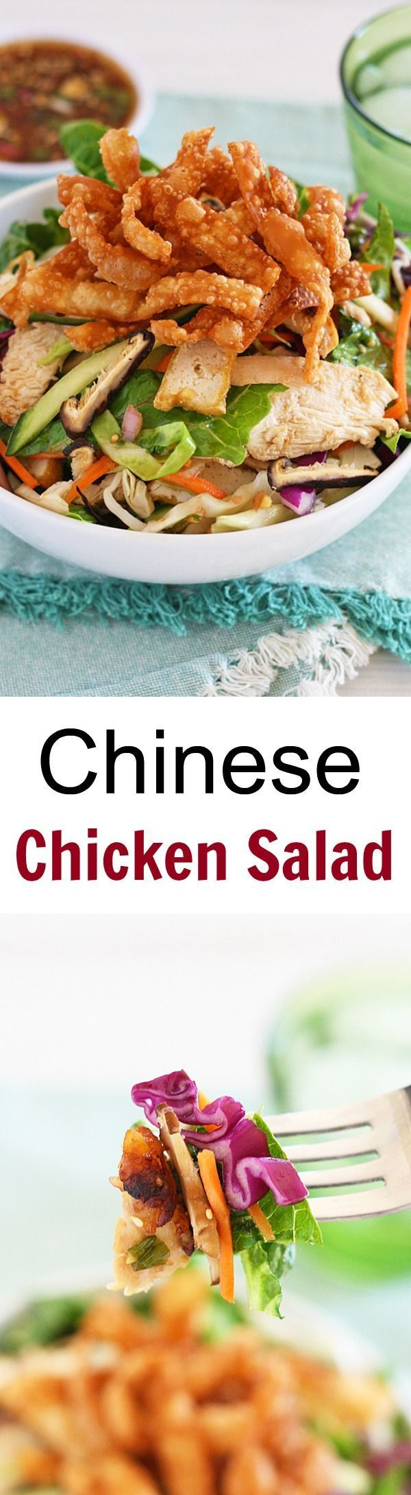 A chicken salad recipe that is healthy and so easy to make. It tastes so good you'll want to eat this Chinese chicken salad every day   http://rasamalaysia.com
