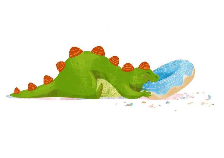 Und hier ist ein Drache mit einem Doughnut :)  🍩 Ihr könnt jetzt übrigens ein paar kleine Drachen auf Kissen und anderen Stoffen bei oyoyo.io/……