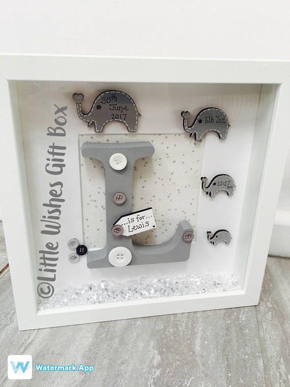 Baby Boy birth / child initial box frame New Baby Nursery