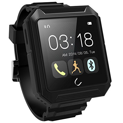 WEMELODY Smartwatch Travel Tricks Waterproof Bluetooth4.0 Smart Watch for iPhone Samsung iOS Android (Black) >>> Be sure to check out this awesome product.
