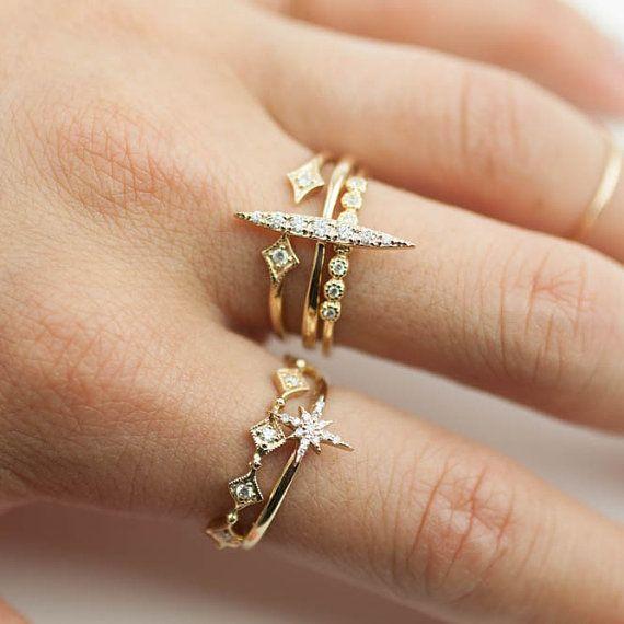 Doppel-Diamant-Ring Doppelstern Ring offene von EnveroJewelry