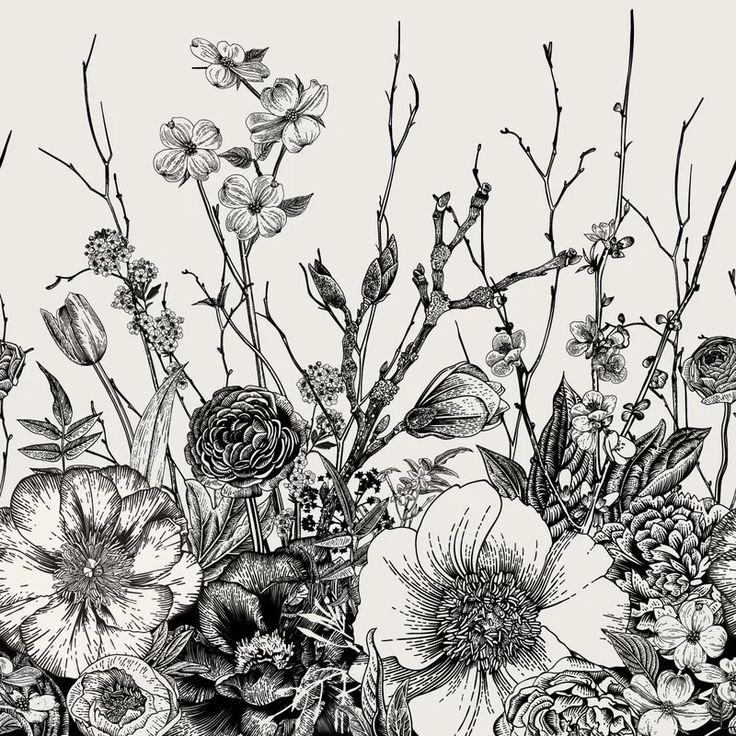 Bungalow Rose Pemberton Removable Vintage Floral Mix 6.25