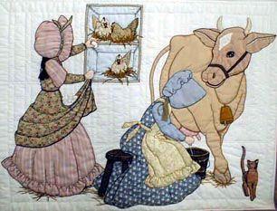 Milking the Bonnet Girls cow Bessie