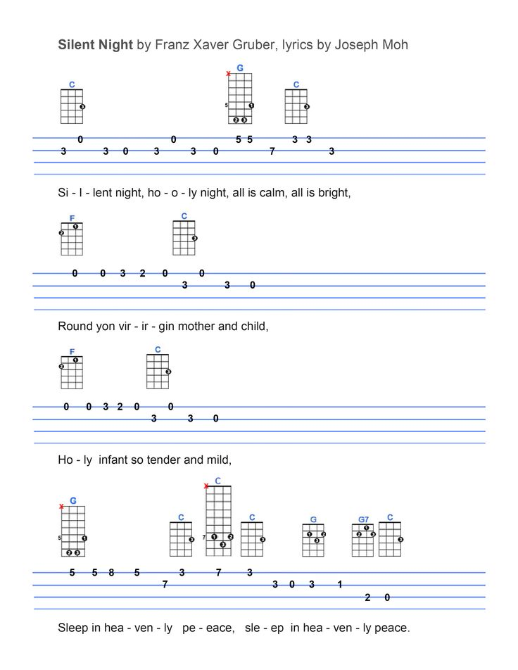 Silent Night : Ukulele Tabs : Pinterest : Silent night, Ukulele tabs and Ukulele songs
